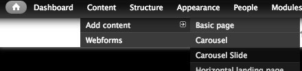 new content top menu